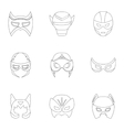 Superhero mask set icons in outline style Big vector image vector image