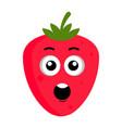surprised strawberry emoticon vector image vector image