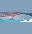 tornado incoming from sea hurricane in ocean beach vector image vector image