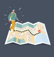 traveling man using map application vector image