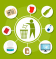 type of recycle object concept background flat vector image