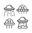 ufo outline icon set vector image