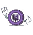 waving pivx coin character cartoon vector image vector image