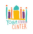 yoga studio center logo colorful hand drawn vector image vector image