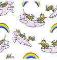 seamless pattern with magic unicorn and rainbow vector image