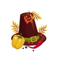 Thanksgiving Day Hat and Vegetables vector image