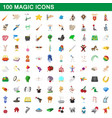 100 magic icons set cartoon style vector image vector image
