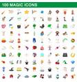 100 magic icons set cartoon style