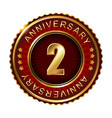 2 years anniversary golden label vector image