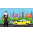 a businessman choose between buy or rent to buy vector image