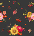 autumn watercolor flowers seamless background vector image