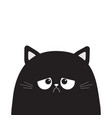 black cute sad grumpy cat kitten silhouette bad vector image vector image