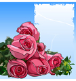 bouquet of pink roses and a blank form vector image