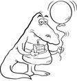 cartoon alligator holding a piece of cake and a ba vector image vector image