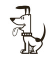 cartoon dog puppy pet sitting with collar vector image vector image