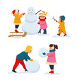 children make a snowman vector image