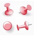 Collection of various red push pins Thumbtacks vector image vector image