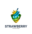 creative abstract strawberry fruit logo vector image