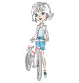 cute girl with bicycle vector image vector image