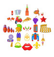 euro travel icons set cartoon style vector image vector image