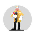 fireman standing with axe vector image vector image