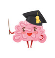 funny humanized brain in black academic cap with vector image