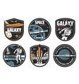 galaxy explorer space travel icon set vector image vector image