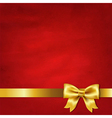 Gold Satin Bow And Red Vintage Background vector image vector image