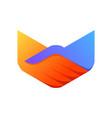 hand shake logo in polygon shape vector image