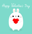 happy valentines day white baby rabbit hare puppy vector image vector image