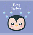 head of penguin with balls of christmas vector image vector image