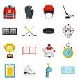 hockey set flat icons vector image