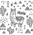 hola card ink cartoon llama print vector image vector image