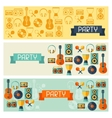 horizontal banners with musical instruments vector image vector image