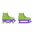 ice skates and rollers flat icons vector image vector image
