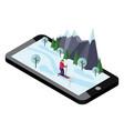 isometric woman skiing mobile navigation videos vector image vector image
