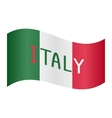 Italian flag waving with word Italy on white vector image vector image