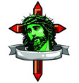 jesus christ face art design vector image vector image