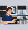 man working in computer server room vector image vector image