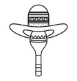 maraca with mexican hat vector image