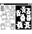 matching shapes game with teddy bears color book vector image vector image