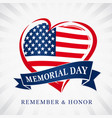 memorial day usa heart emblem flag colored vector image vector image