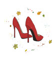modern stylish shoes of red color shoes on the vector image vector image