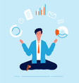 multitasking manager business person lotus pose vector image vector image