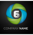 Number six logo symbol in the colorful circle on vector image vector image