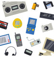 old technology devices pattern vector image