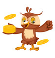 owl with coins on white background vector image vector image
