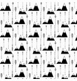 pattern with hand drawn tribal arrow and mountains vector image