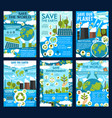 save earth and green eco planet posters vector image vector image