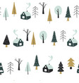 seamless pattern with houses and forest vector image